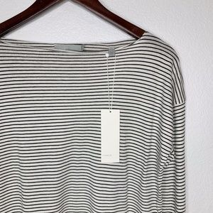 VINCE Striped Boat Neck Long Sleeve Top NWT